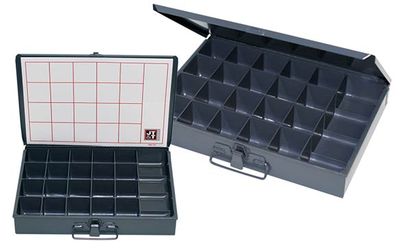 metal storage organizer case, 21 compartment, latch